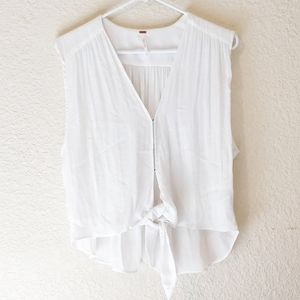 Free people white tie front tank.